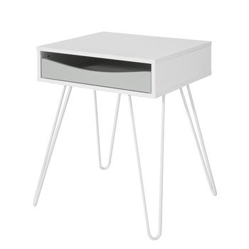 SoBuy®FBT82-W stolik koniec stolik przy łóżku stolik ekspres do kawy stolik przy łóżku kanapa z funkcją spania stolik tanie i dobre opinie CN (pochodzenie) Nowoczesna i minimalistyczna W43 x D38 x H51cm High quality MDF and powder coated steel
