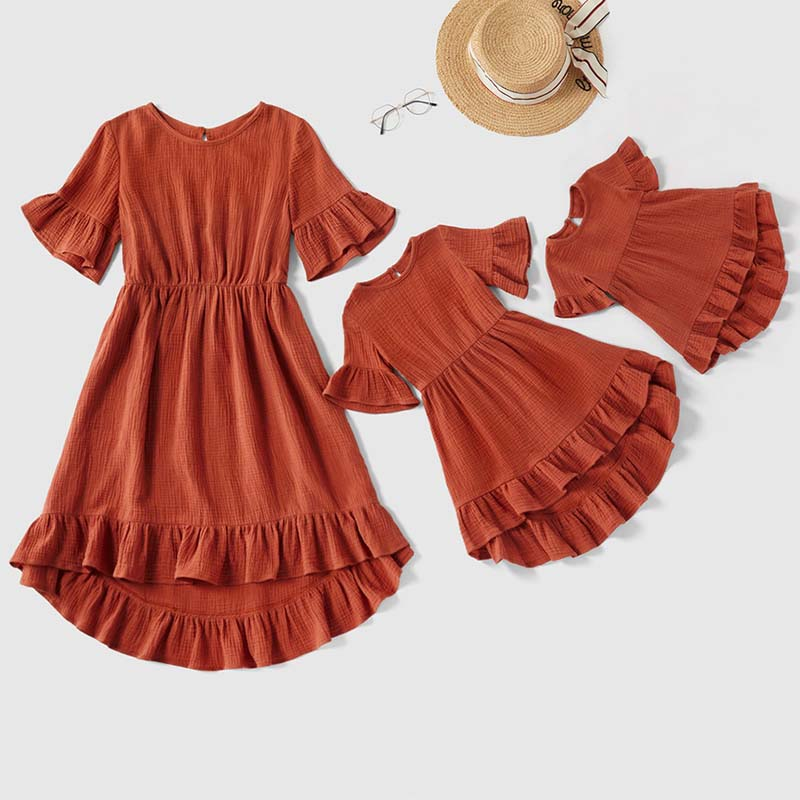 2020 New Family Look Mother Daughter Dresses Mommy And Me Linen Cotton Clothes Summer Family Matching Outfits Women Baby Dress
