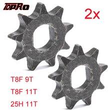 TDPRO 2 шт., металлическая передняя Звездочка 9T 11T для T8F, 25H, цепная, 2-тактная, 43cc 47cc 49cc, внедорожный велосипед, скутер, запчасти для квадроциклов, ...