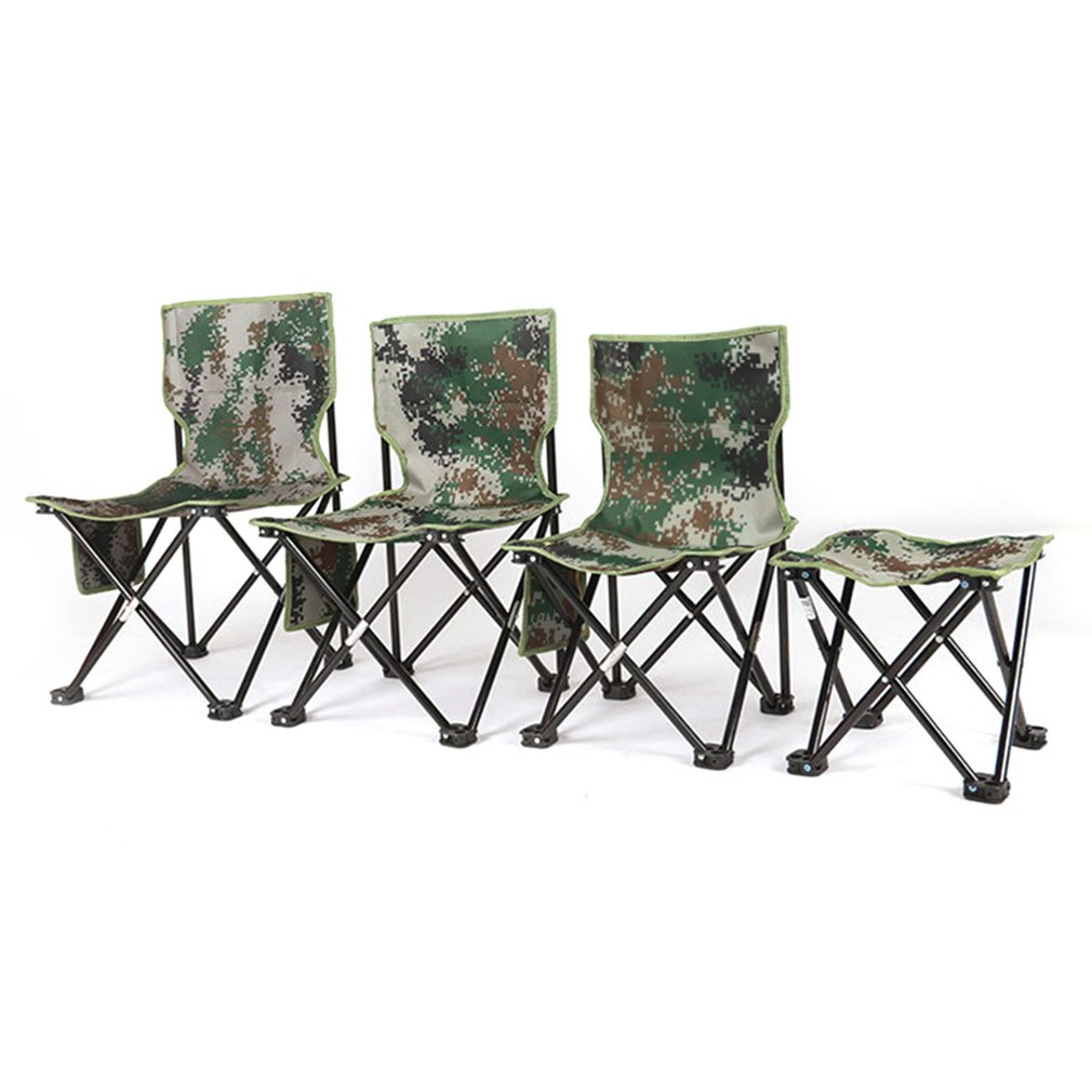 Ultralight Aluminum Alloy Foldable Four Corners Chair Camouflage Outdoor Stool Chair Seat for Camping Hiking Fishing Picnic (33x55cm)