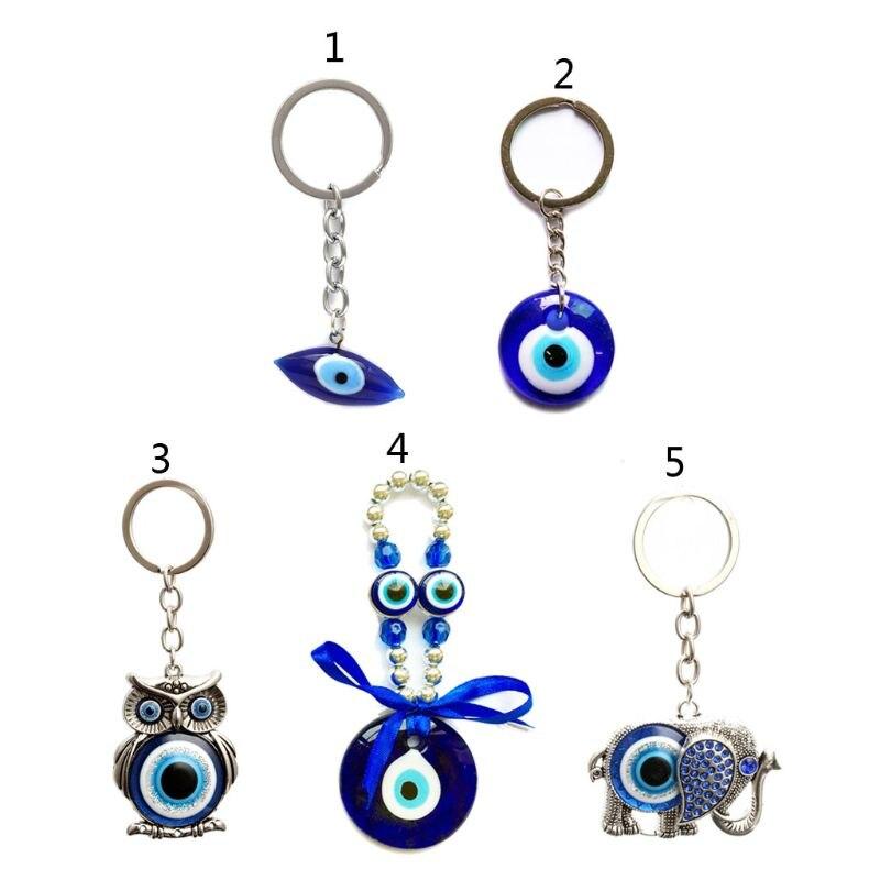 Turkish Blue Evil Eye Keychain Car Key Ring Amulet Lucky Charm Pendant Jewelry