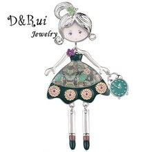 Alta qualidade festa de casamento jóias linda menina forma broches pinos para as mulheres moda esmalte liga metal broche 4 cor pino