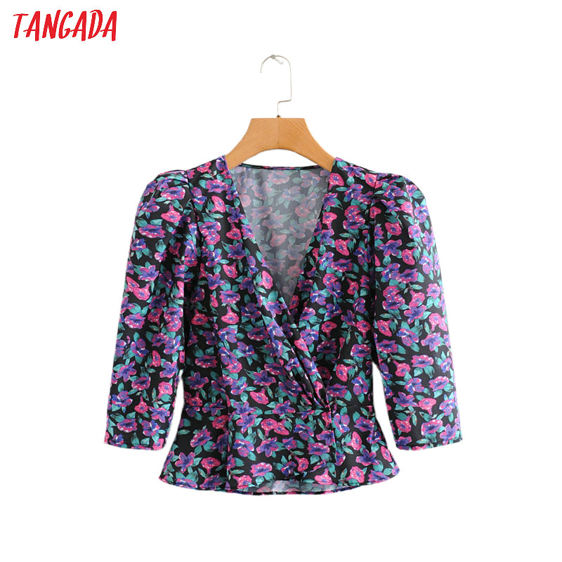 Tangada Women French Style Floral Print Blouse Three Quarter Sleeve Chic Female Stretch Waist Shirt Blusas Femininas 2L03