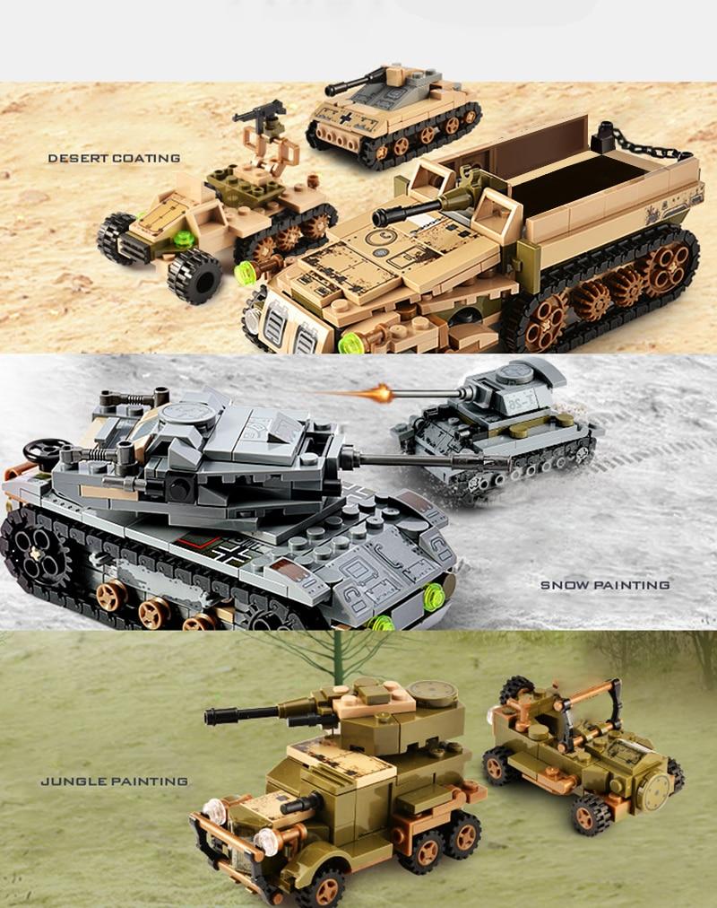 1061PCS Tank Building Blocks Toys Mini figures Vehicle Aircraft Boy Educational Block Military Compatible LegoINGlys Bricks (8)