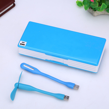 Multifunctional Pencil Case with LED Lamp & USB Mini Fan Creative Student Stationery Box Korean Style