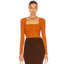 Ocstrade New Arrival Fashion Sexy Bandage Corset Tops to Wear Out 2020 Fall Winter Women Brown Bandage Long Sleeve Corset Top