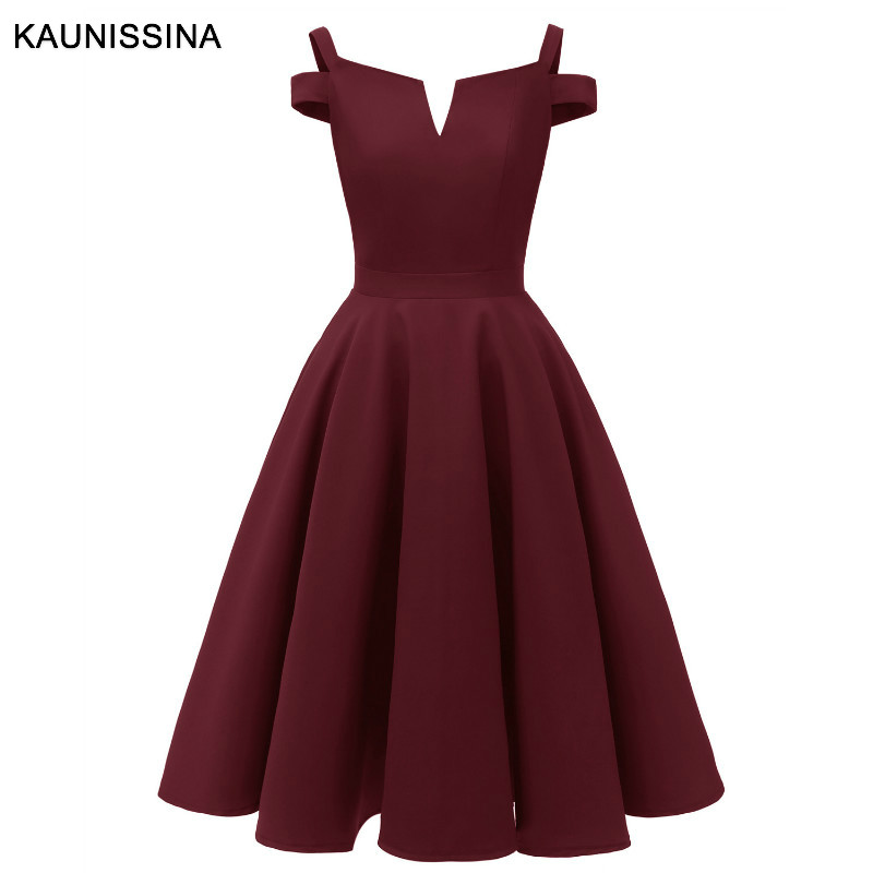 KAUNISSINA Cocktail Dresses Knee Length Solid Spaghetti Strap Pleated A-line Elegant Party Robe Homecoming Dresses