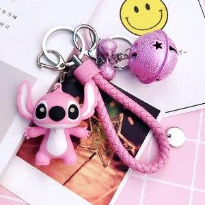 Image 2 - Cartoon Lilo und Stitch Schlüsselanhänger LED Stich Puppe Schlüssel Ring Sound Flash Seil Glocke Rucksack Pandent Geschenke