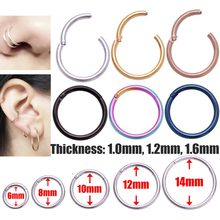 Titanium Hinged Segment Nose Ring 6mm to 14mm Nipple Clicker Ear Cartilage Tragus Piercing Unisex Fashion Jewelry Rings(China)