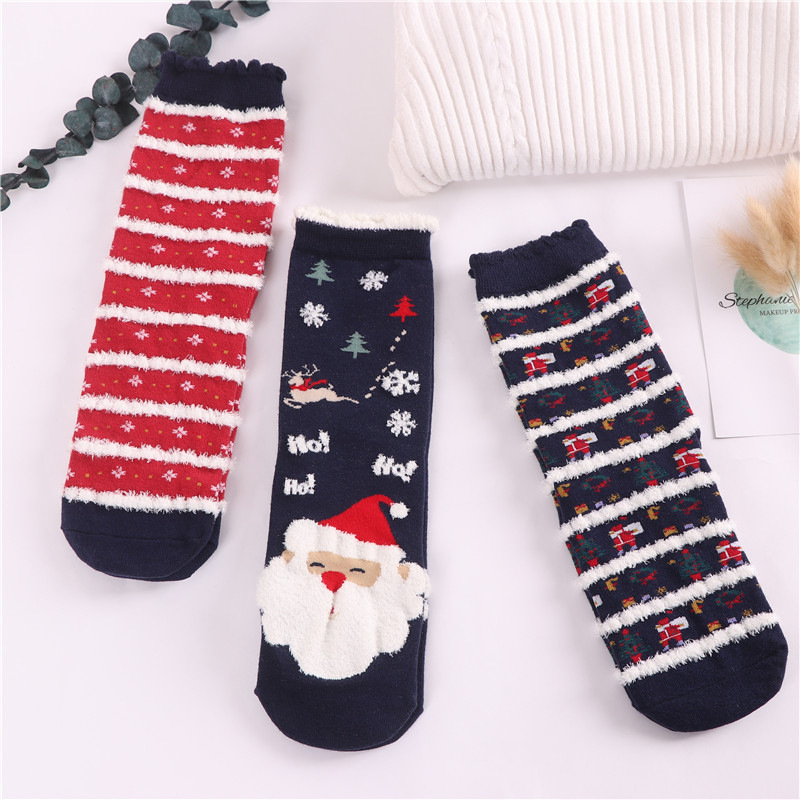 Jeseca Cartoon Animal Cute   Socks   for Women Autumn Winter Thicken Warmer Sox 2020 New Year Christmas Party   Sock   for Girls Gifts