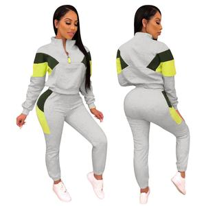 Image 2 - Two Piece Sets Tracksuits 2020 Spring Autum Women Zipper Color Block Short Sweatshirt and Pencil Pant Sets Sportwears Sweatsuits