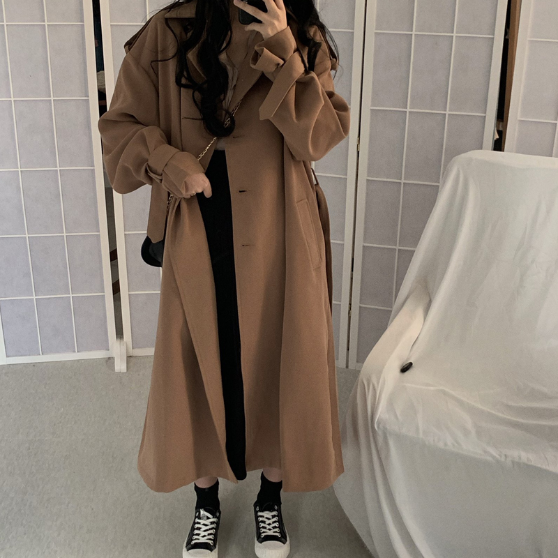 Spring Autumn 2019 Korean Women Coat Fashion Double Breasted Trench Coat Loose Belt Female Windbreak Outwear Abrigos Mujer M448