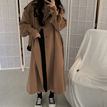 Spring Autumn 2019 Korean Women Coat Fashion Double Breasted Trench Coat Loose B