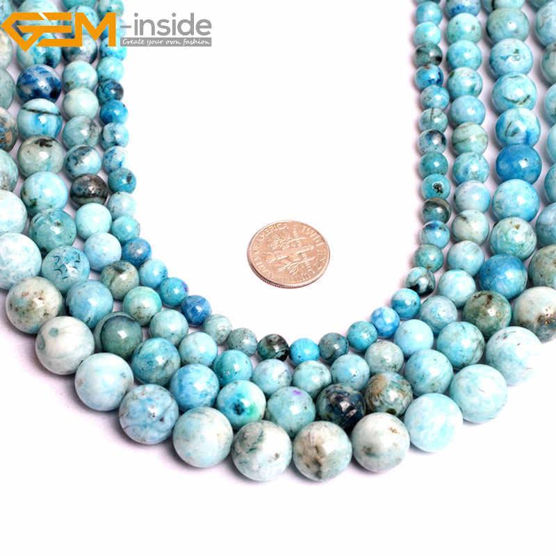 Permata-Di Dalam 6-12 Mm Alam Batu Manik-manik Bulat Longgar Biru Hemimorphite Beads untuk Perhiasan Membuat Manik-manik 15 ''Diy Beads Hadiah