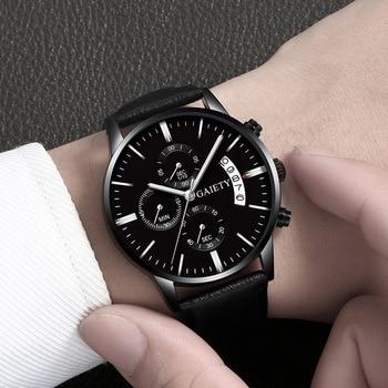 2021 Relogio Masculino Watches Men Fashion Sport Stainless Steel Case Leather Band watch Quartz Business Wristwatch Reloj Hombre - Black