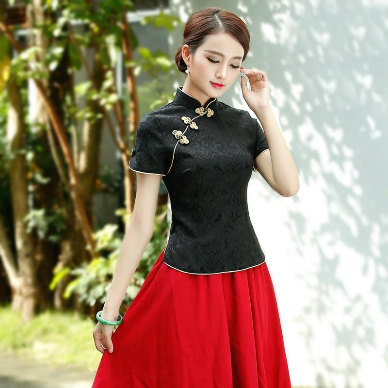 Sheng Coco Black China Blouse Women Traditional Chinese Shirt Clothing Chinese Jacquard Cotton Cheongsam Shirt Flower Buckle Top