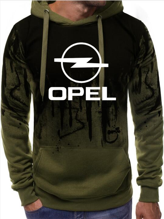 Free Shipping High-quality New Hoodies Men Opel Car Logo Print Casual HipHop Gradient Color Hooded Mens Fleece Sweatshirts Man