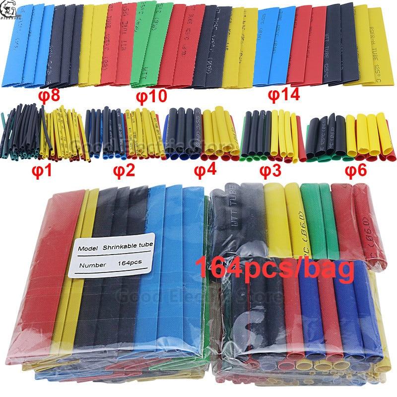 164 pces conjunto polyolefin shrinking sortidas fio cabo isolado sleeving tubo do psiquiatra do calor da tubulação