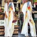Размера плюс осенние туфли в стиле ретро с цветочным принтом кимоно шифоновая блузка с длинным рукавом повседневные свободные пляжная одеж...