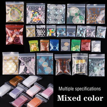 Color lovely beautiful zip lock plastic bag can be re-sealed transparent bag storage sundries bags powder pills packaging bags