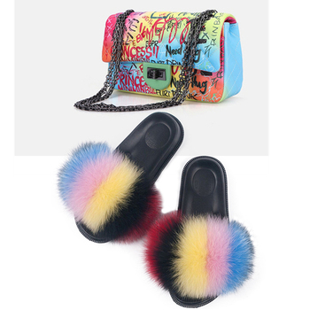 Women Fox Fur Slippers Colorful Jelly Bag Cute Fluffy Fashion Furry Shoulder Crossbody
