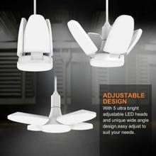 52LED Garage Light E27 Bulbs Deformable Ceiling Fixture Lights Shop Workshop Lamp 48W Mini Long Leaf Lamp Industrial Lighting