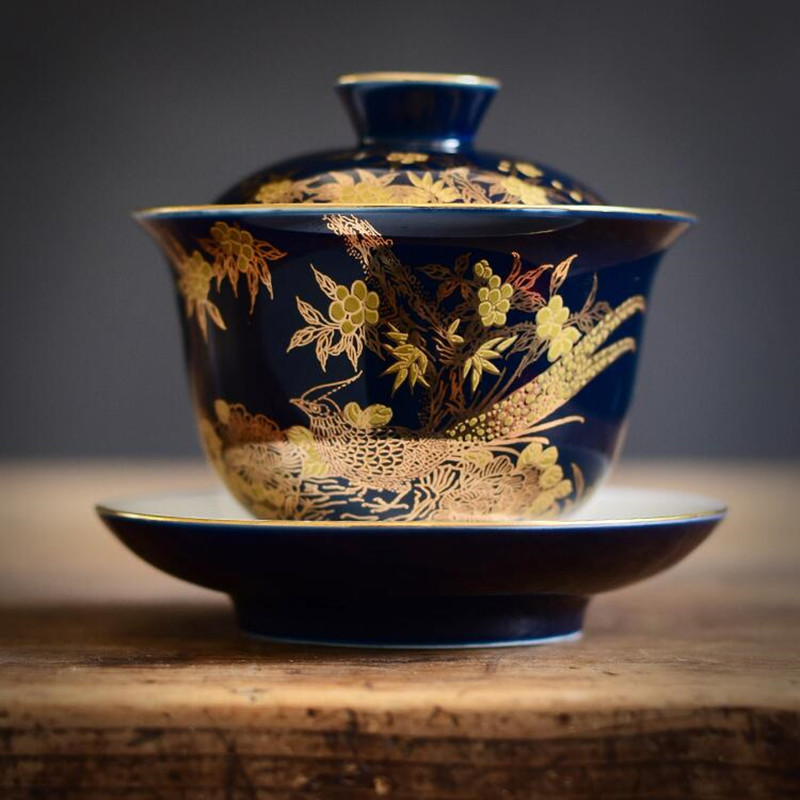 Jingdezhen Hand-painted Gold Enamel Ceramics Tea Tureen Indigo Glaze Sancai Cover Bowl KungFu Gaiwan Tea Cup Bowl Teaware