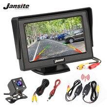 Jansite 4.3 인치 TFT LCD 자동차 모니터 디스플레이 무선 카메라 역방향 카메라 주차 시스템 자동차 Rearview 모니터 NTSC PAL