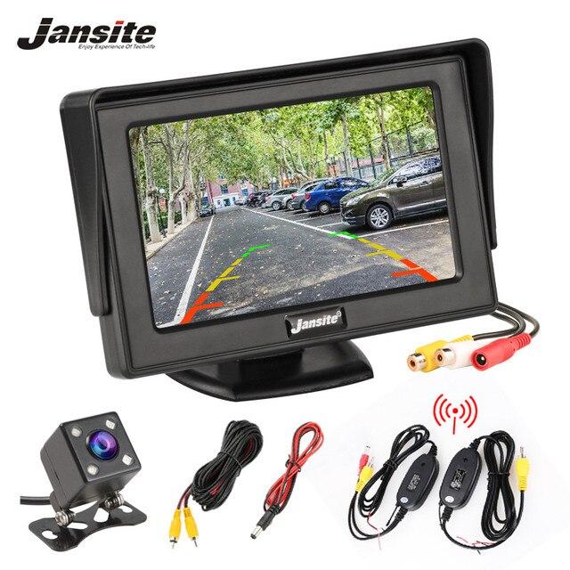 Монитор для автомобиля Jansite, 4,3 дюймовый TFT ЖК дисплей, беспроводная камера s, камера заднего вида, парковочная система, NTSC PAL