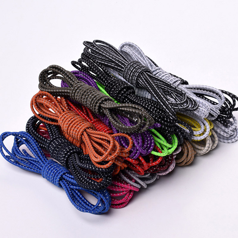 1 Pair 105cm Multicolor Round Shoelaces Reflective Stretch Elastic Band Sports Outdoor Shoe Laces Strings For Sneakers Women Men