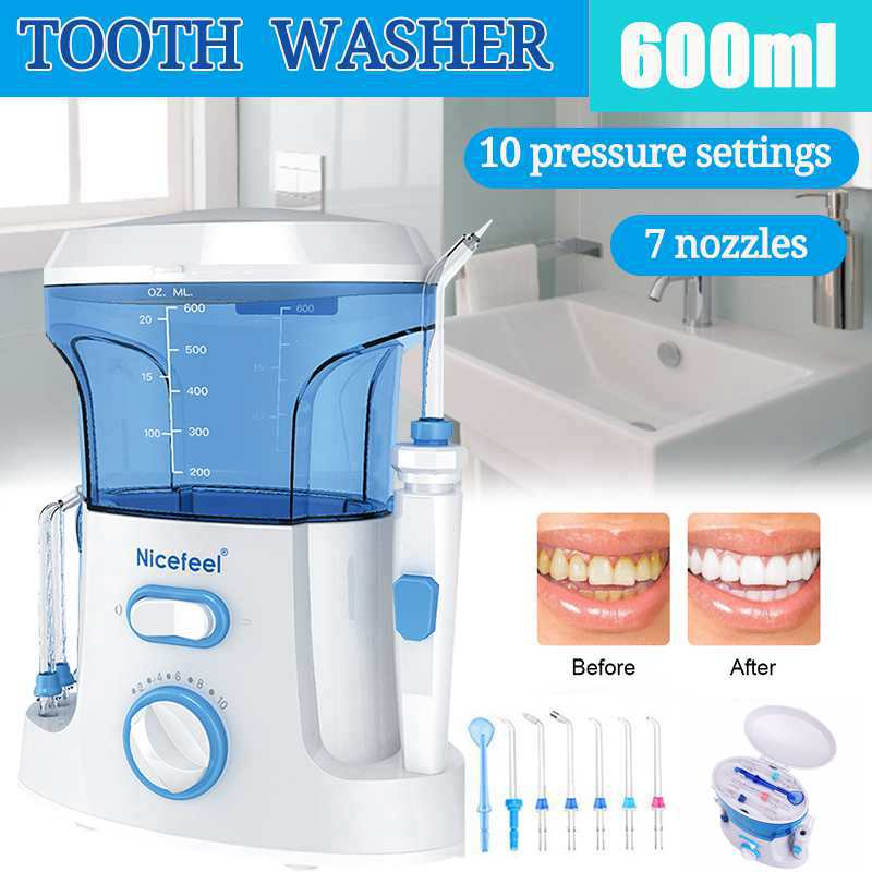 Nicefeel 600ml Water Dental Flosser Electric Oral Irrigator Care Dental Flosser Water Toothbrush Dental SPA With 7pcs Tips White