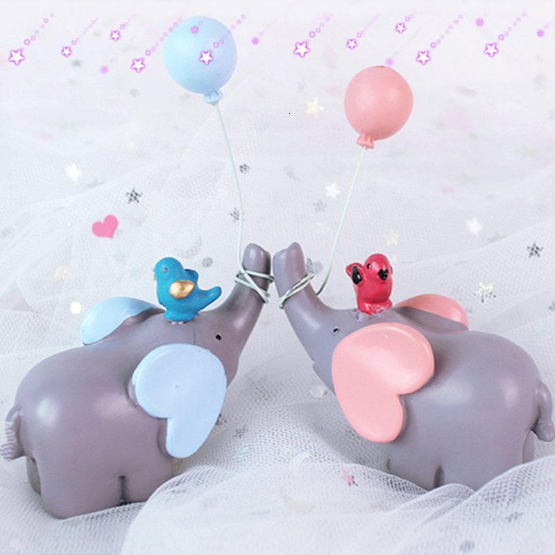 Sensational Round Balloon Elephant Cake Topper Birds Decor Cute Animal Cupcake Funny Birthday Cards Online Necthendildamsfinfo