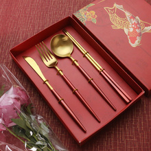 4Pcs/set Cutlery Set Stainless Steel Dinnerware Gold Flatware Fork Knife Spoon Wedding Silverware giftbox Drop Shipping