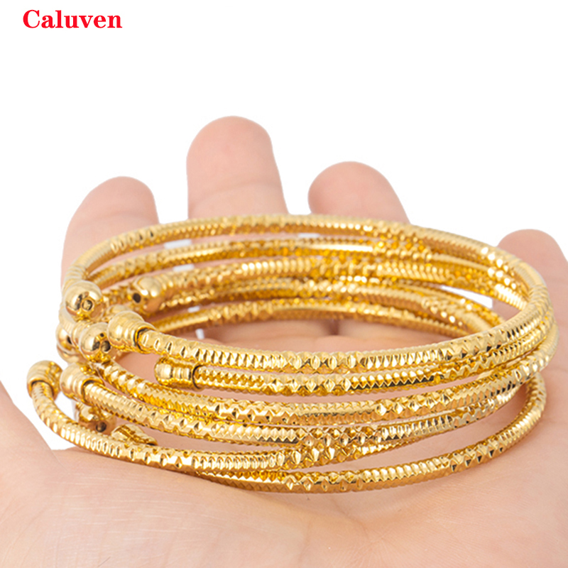 3MM/6pcs Dubai Bangles For Women Indian Bangles Africa Ball Jewelry Gold color Bangle&Bracelet Ethiopian Wedding Bride Jewelry