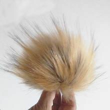 Помпоны цвета хаки для шапки большие Меховые помпоны 15 см с