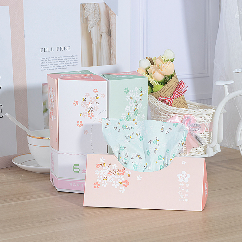 New Products Car Mounted Cherry Blossom Triangular Box Paper 6 Boxed Environmentally Friendly 40 Pumping Three Layer Thick Print