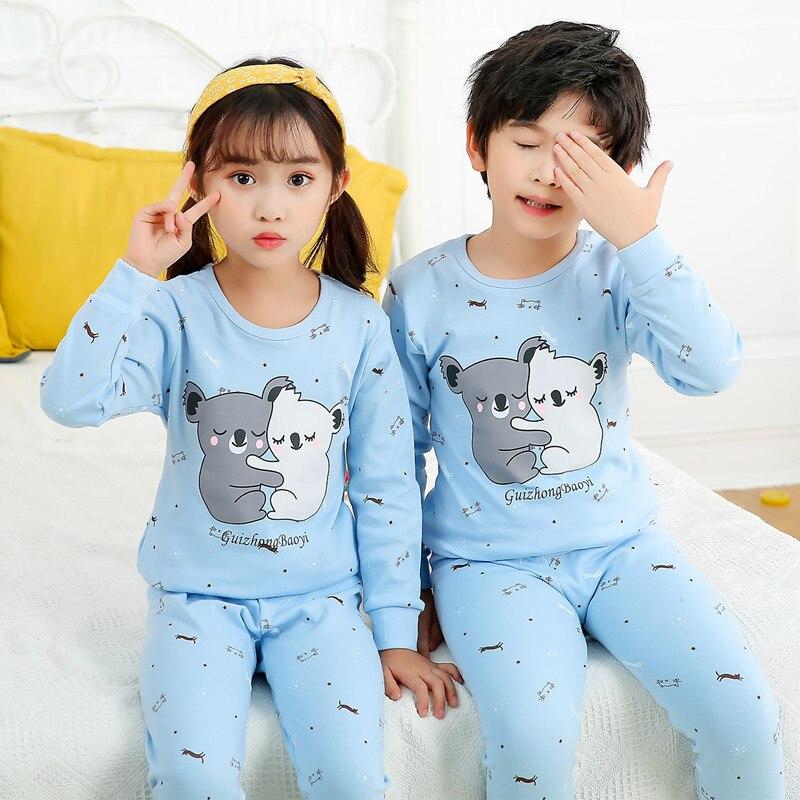 New Autumn Boys Girls Sleepwear Cartoon Pajamas Sets Long Sleeved Pyjamas Kids Children's Homewear Night Suit Pijama Infantil 2
