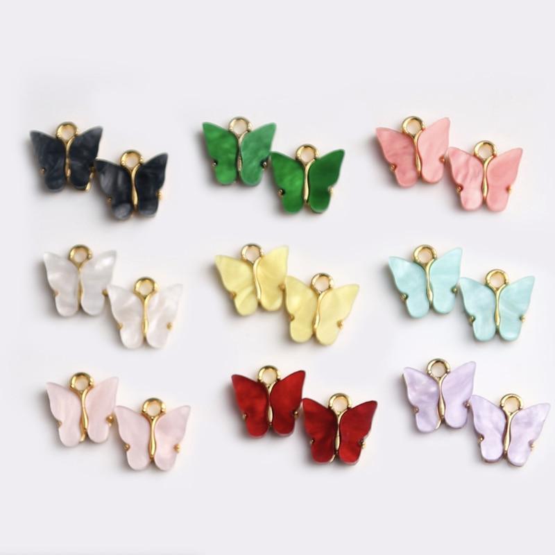 10Pc Butterfly Pendant Acrylic Charms Lovely DIY Animal Pendant Handmade Jewelry