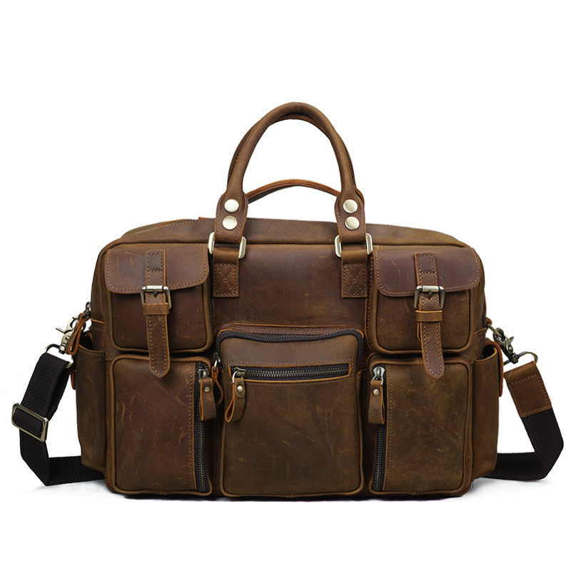 Man Crazy Horsehide Genuine Leather Male Package Travel Handbag Single Shoulder Messenger Will Capacity Briefcase Free Shipping