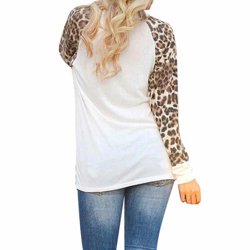Otoño 2019, camiseta de manga larga con estampado de leopardo, remiendo geométrico de mujer, cuello alto, ropa de gasa para mujeres, camisetas con cuello redondo