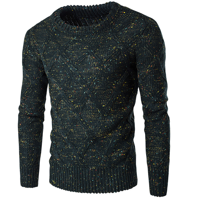 Men's Crew Neck Pullover, Korean Version Of The Trend Of Winter Thick Long-sleeved Wild Personality Color Sweater