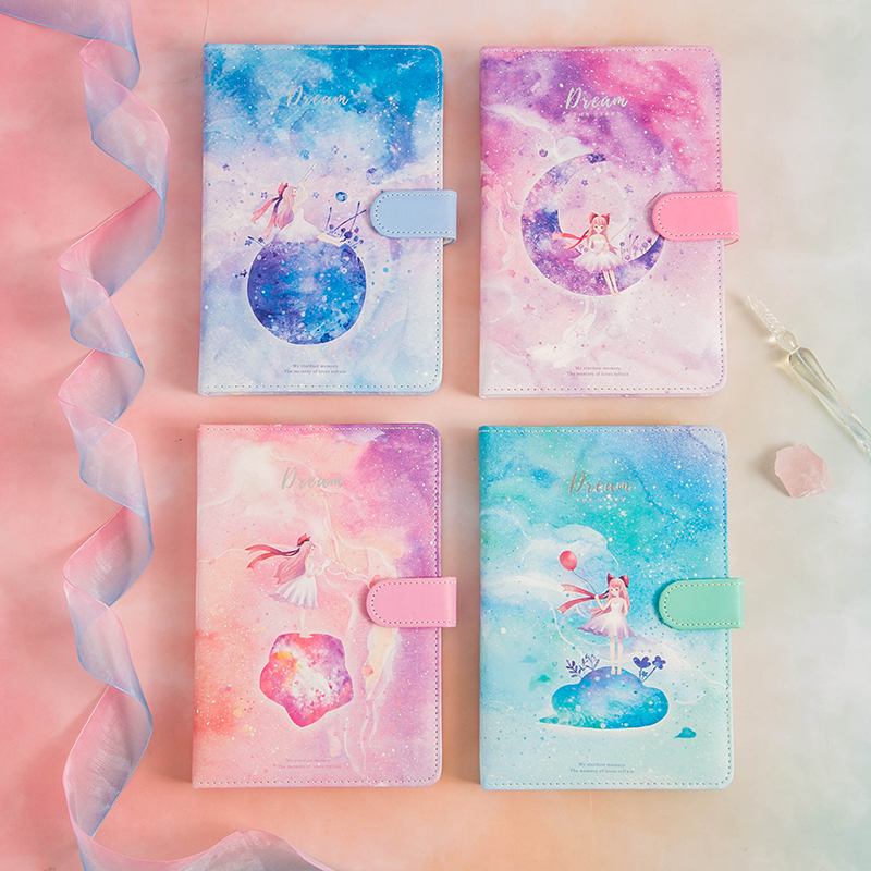 Cute Notebook Colorful Dream PU Cover Planner Book Diary Bullet Journal  Stationery School Office Supplies Girls Kids Gifts