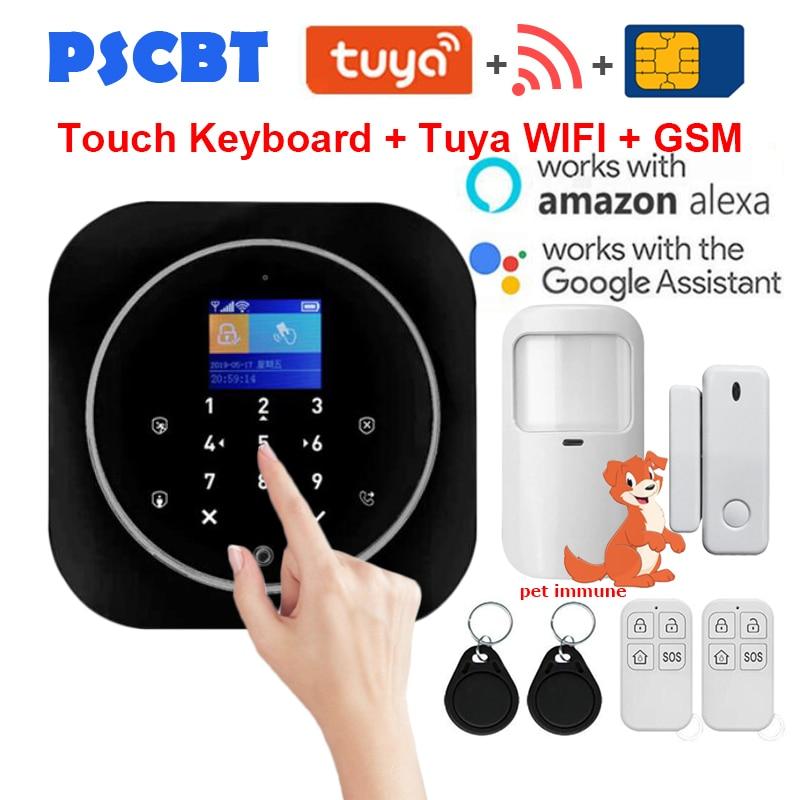 PS12 Tuya Home Security WIFI GSM Alarm System SIM Card Phone Dialer APP Remote Control 11 Kinds of Languages Thief Burglar Alarm
