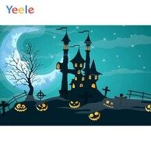 Yeele Happy Halloween Backdrop Cartoon Castle Pumpkin Pantern Moon Customized Vinyl Photography Backgrounds For Photo Studio