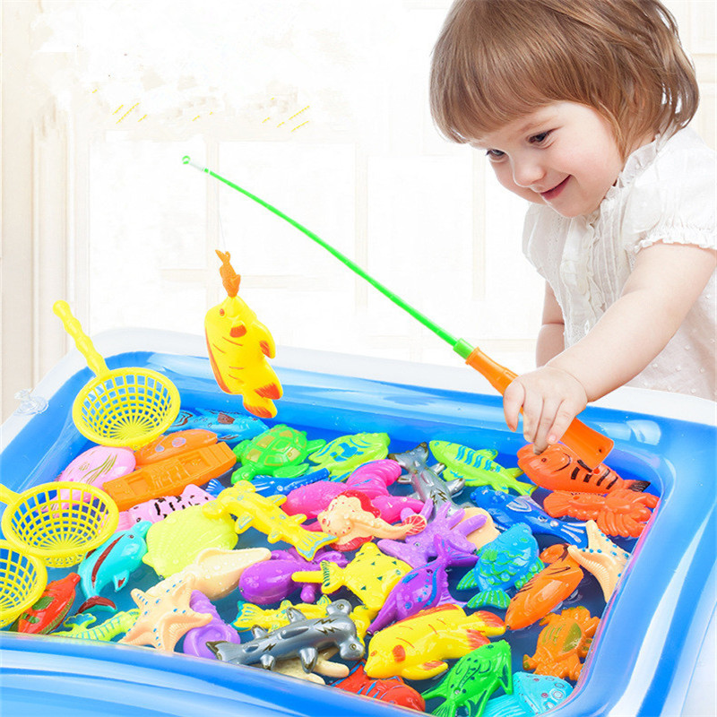 41pcs/set Kids Play Fishing Games Model Child Magnetic Fishing Toy Rod Set With Inflatable Pool Kids Summer Outdoor Toys