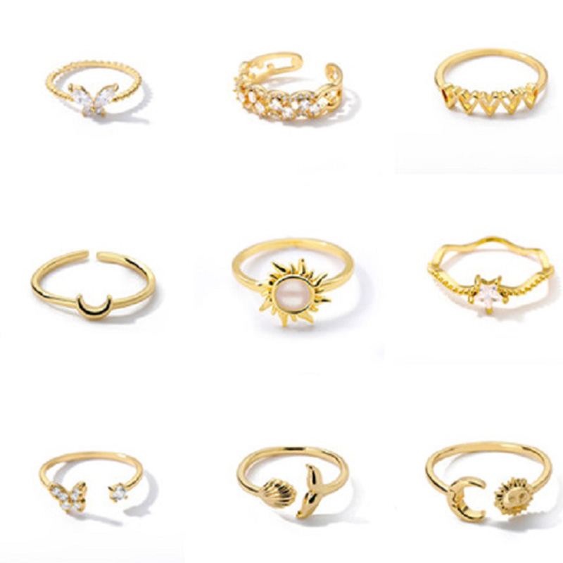 Resizable Geometry Heart Rings Set For Women Simple Sun Moon Ring Minimalist Ocean Waves Shape Butterfly Finger Ring Party Gifts