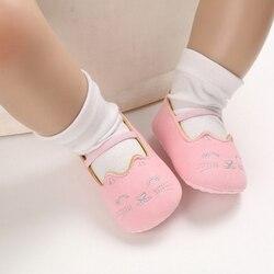 Bonitos zapatos de princesa antideslizantes con estampado de gato para niñas pequeñas, zapatillas de deporte casuales para niños pequeños, suela blanda, zapatos para primeros pasos 2020