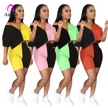 Fitness 2020 Summer Two Piece Set for Women V Neck Top and Skinny Shorts Sports Tracksuit Casual Patchwork Matching Sets Outfits