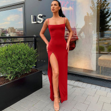 Women Spaghetti Strap Dress Sexy Split Solid Slim Lady Ankle Length Vintage Wear