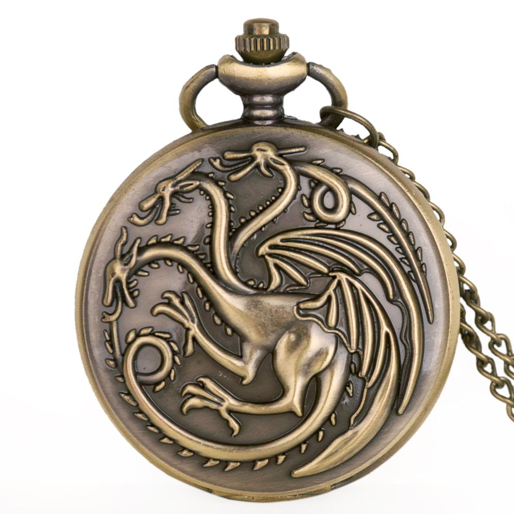 Hot Quartz Pocket Watch Steampunk Game Of Thrones House Targaryen Awesome Dragon Fire And Blood Man Women Clock Necklace Pendant